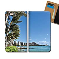AQUOS SH-M02 SHM02 ケース スマホケース 手帳型 ベルトなし HAWAII ハワイ ヤシの木 手帳ケース カバー バンドなし マグネット式 バンドレス EB337010088001