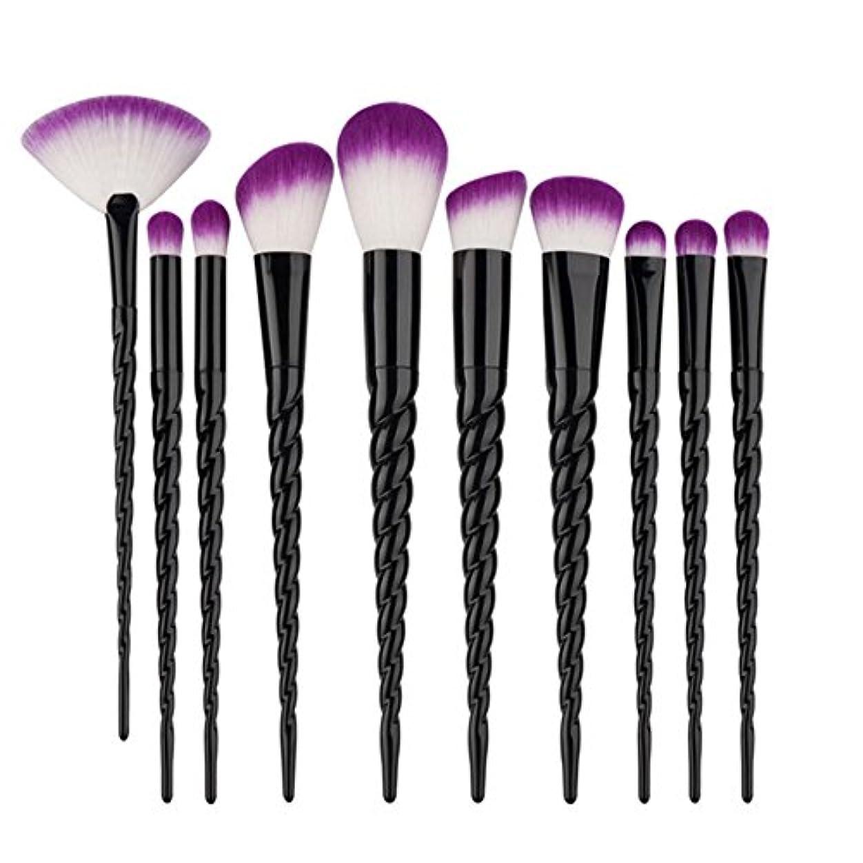 遵守する知事区Dilla Beauty 10本セットユニコーンデザインプラスチックハンドル形状メイクブラシセット合成毛ファンデーションブラシアイシャドーブラッシャー美容ツール (ブラック)