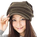 小顔効果 くしゅっとニットキャスケット 帽子 レディース 大きいサイズ 帽子 メンズ 秋冬 つば付き ニット つば長 つば広 耳あて代わりの防寒対策 【フリーサイズ(約57-63cm)-カーキ】