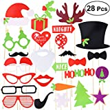 Tinksky Christmas Party Photo Booth Props Creative Posing Props Christmas Trees Hats Glasses Moustache Kit for Party Decoration 28-pack