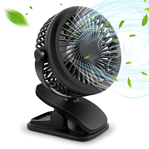 USB扇風機 クリップ 卓上扇風機 縦横360°回転 静音 熱中症対策 超強力送風 2WAY電源3段階調節 オフィス アウトドア ベビーカー キチン トイレ 車用 サーキュレーター Convida (ブラック)
