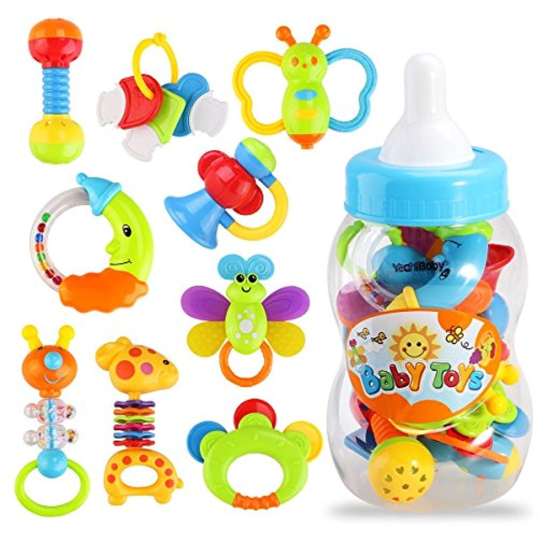 yeahibaby 9ピース赤ちゃんの最初Rattle and Teether Toy GiantミルクボトルGraspクリスマスギフトおもちゃ(ランダムカラー)