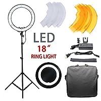 18インチ 240 LED 調節可能リングライト 5500k カメラ写真ビデオ照明キット ライト/スタンド/電話クランプ/三脚ヘッド付き 写真撮影用 YouTubeセルフビデオメイクアップ