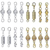 Ginooars Pack of 16 Magnetic Extender Lobster Clasps for Jewelry Necklace Bracelet Extension Chain Style Lobster Clasp Silver Color & Golden Color