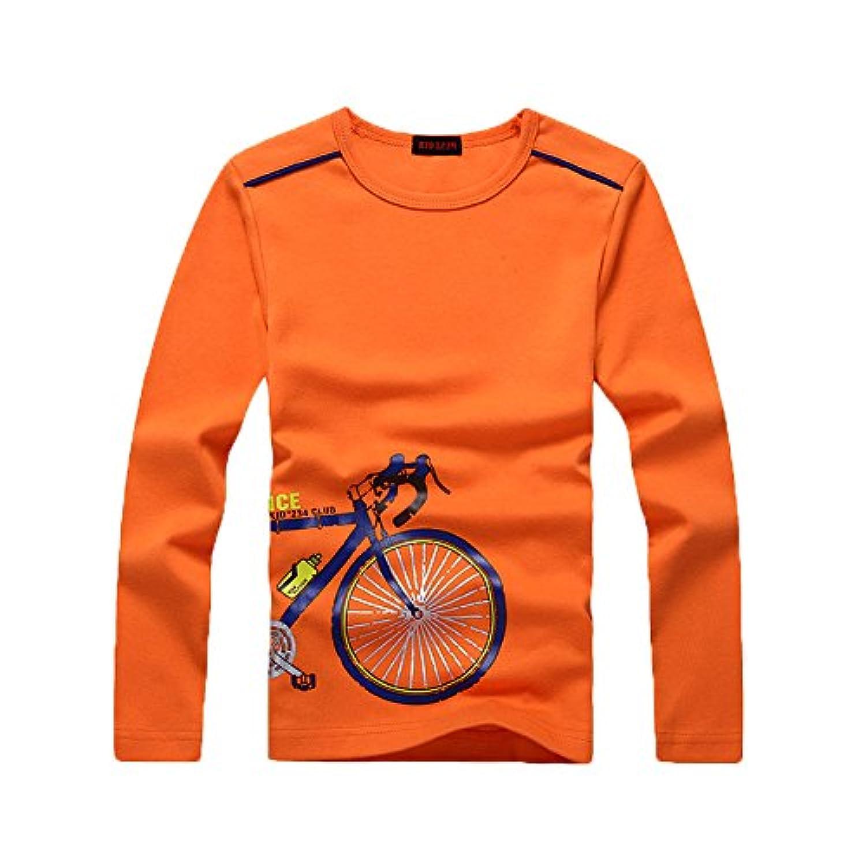 KID1234 秋 長袖 Tシャツ キッズ 男の子 ボーイズ 薄手 ラウンドネック ボトムシャツ 自転車柄 子供服 コットン100%  ストレッチ 通気性 ソフト 柔らかい ジュニア お出かけ 四色展開 110cm-160cm