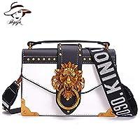 ファッション金属ライオンヘッドミニ小さな正方形パックショルダーバッグクロスボディパッケージクラッチ女性デザイナー財布ハンドバッグbolsos mujer