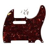 エレキギターパーツ Telecaster型ギター テレキャスター用ピックガード ネジ8本付き セルロイド製 フェイクトータスシェル レッド 8穴