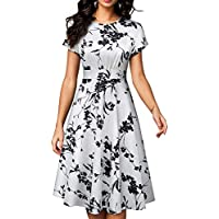 HOMEYEE Women's Short Sleeve Floral Casual Aline Midi Dress A102