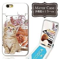 301-sanmaruichi- iPhoneXR ケース ミラーケース 鏡付き ミラー付き カード収納 おしゃれ ネコ 猫 ねこ 子猫 にゃんこ イラスト フォト かわいい 花 大人可愛い プリントデザイン