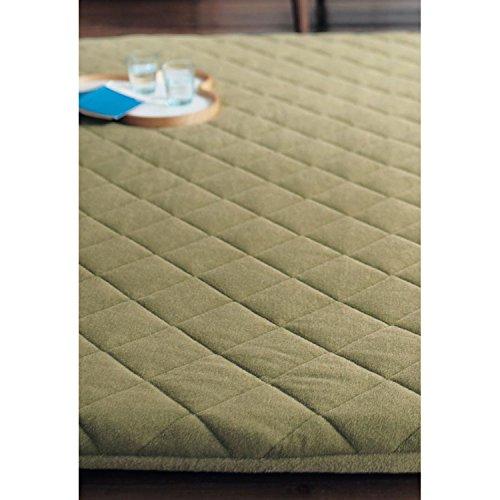 [ベルメゾン] カバーが洗えるリバーシブル着せ替え防音厚敷きラグ グリーン×グリーン サイズ(cm):約190×190