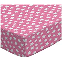 SheetWorld Fitted Pack N Play (Graco) Sheet - Primary Stars White On Pink Woven - Made In USA by sheetworld
