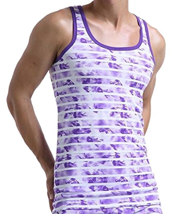 後鬼ごっこ統計Fly Year-JP メンズスリムフィットストライプパターン綿tシャツ?タンクトップ