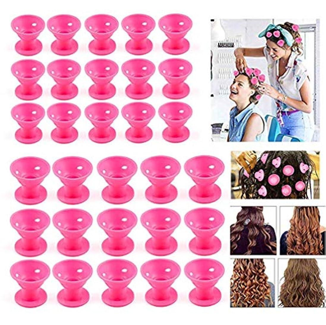 統合深める手段女性向けヘアカーラーギフト難なくヒートレスヘアスタイリングシリコンノーヒートヘアローラー(20個)