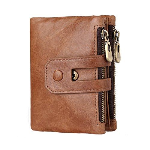 HollyRobin 二つ折り 財布 メンズ 本革 レザー ダブルジッパー ファスナー 小銭入れ カード入れ 16ヶ所 人気 ブラウン