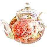 【Amazon.co.jp限定】母の日 2017 プレゼント ギフト 優雅セット カーネーション花咲く 工芸茶10種とガラスティーポット