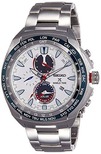 逆輸入SEIKO セイコー プロスペックス ソーラー ワールドタイム パワーリザーブ メンズ腕時計 クロノグラフ ホワイトダイアル ステンレスベルト SSC485P1