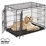 "Dog Crate | Midwest iCrate 30"" Double Door Folding Metal Dog Crate w/Divider Panel, Floor Protecting Feet & Leak-Proof Dog Tray 