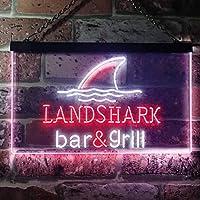 Landshark Bar and Grill LED看板 ネオンサイン バーライト 電飾 ビールバー 広告用標識 ホワイト+レッド W40cm x H30cm