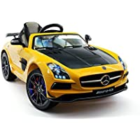 Mercedes Benz SLS AMG FInal Edition 12V Kids Ride-On Car MP3+MP4 Color LCD Entertainment Center, RC Parental Remote + 5 Point Safety Harness | Yellow [並行輸入品]