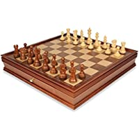 British Staunton Chess Set in Golden Rosewood & Boxwood with Large Walnut Chess Case - 4 King by The Chess Store [並行輸入品]
