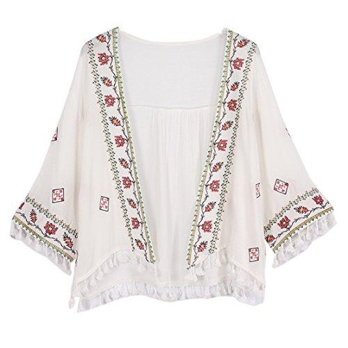 (ライチ) Lychee レディース 可愛い 花柄刺繍 アウター カーディガン コート 羽織る 薄手 タッセル付き ボレロ ビーチ 海 大きいサイズ 冷房対策