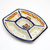 ポルトガル製 にわとり柄 陶器 パーティプレート 仕切りプレート Good Morning! pif-915ch