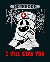 Notebook: nurse halloween ghost - 50 sheets, 100 pages - 8 x 10 inches