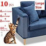 "10 Pcs Furniture Protectors from Cats, Clear Self-Adhesive Cat Scratch Deterrent, Couch Protector 4 Pack X-Large (18""L 12""W) + 4 Pack Large (18""L 9""W) + 2 Pack (18""L 6""W) Cat Repellent for Furniture,"