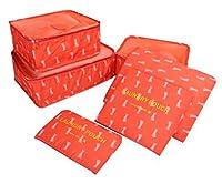 薩牧徳旅行収納袋6点セット旅行用衣類収納ケース便利トラベル収納整理ケース (レッドウサギ)