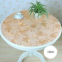 ラウンドPvcソフトガラステーブルクロス防水と防水透明なマットレスクリスタルテーブルのテーブルクロスラウンドテーブルマット ( 色 : ゴールド , サイズ さいず : 140*140cm )
