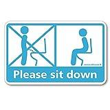 座りション トイレステッカー 立たないでジョ~!!(スカイブルー)トイレ ステッカー 掃除 立ちション禁止 マナー シール メイヴルアットホーム