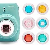 ハローへロリFUJIFILM インスタントハローキティカメラ チェキ カラー接写レンズ Instax Mini7S/ Instax Mini8/8+/ Poloroid PIC 300専用接写レンズ 6個セット(赤、青、黄、緑、ピンクハート、ブルーラウンド)-ホワイト