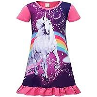 AmzBarley Girls Unicorn Dress Princess Birthday Party Costume Halloween Casual Loose Ruffle Playwear Outfits 3-10 Years