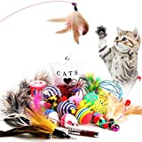 Letilio 猫 おもちゃ 猫じゃらしペットセット 遊びボール ネズミ LEDポインター 羽根 マウス 鈴おもち 肥満解消 ストレス解消 色ランダム 子猫 成猫ペット遊び道具21点セット