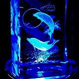 3Dクリスタル オルゴール 曲目:ありがとう(いきものがかり) LEDライト付き 絵柄:イルカ