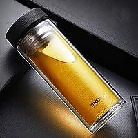 大容量 水筒 二重ガラスボルト 断熱保温 マグカップ 1000ML/500ML選択可 ティーカップ 茶漉し ダブルウォール マイボトル スポンジ付 保温 保冷 携帯用 オフィス/自宅用 直飲み ブラック
