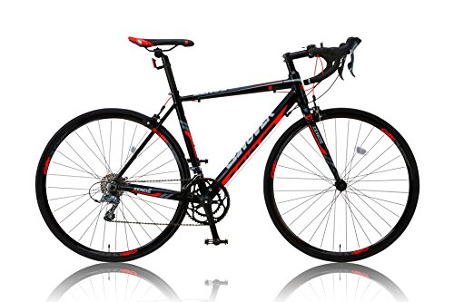 CANOVER(カノーバー) ロードバイク 700C シマノ16段変速 CAR-011(ZENOS) 軽量クランク アルミフレーム フロントLEDライト付 レッド/ブラック
