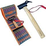 YOGOTO ペグハンマー 木製 持ち手 安全ベルト付 (ヘッド スチール) 収納袋付き