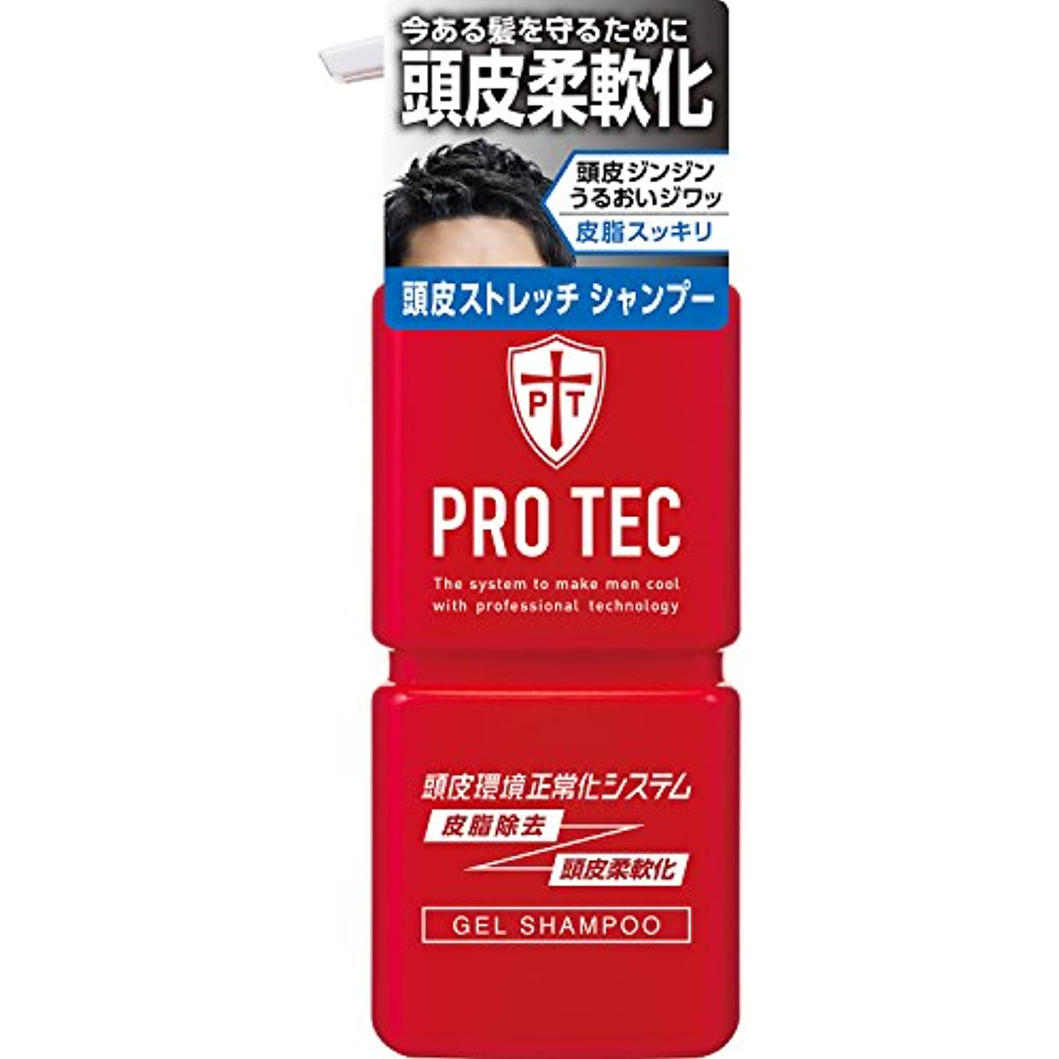 帝国水っぽい令状PRO TEC(プロテク) 頭皮ストレッチ シャンプー 本体ポンプ 300g(医薬部外品)