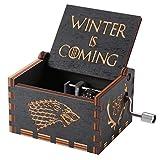 ゲーム・オブ・スローンズ木製オルゴール、アンティーク彫刻が施された木製ハンドクランクミュージカルボックス誕生日プレゼント