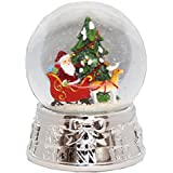 20075 【Minium Collection】 サンタタネンバウム銀の台座 Snowglobe ミュージカルスノーグローブ 【直径】10 cm