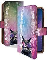 Qua phone QX ケース 手帳型 キャット フラワー 動物 どうぶつ アニマル スマホケース キュアフォン 手帳 カバー Quaphone キュアホンQXケース キュアホンQXカバー ねこ ネコ 猫 猫柄 ねこがら [キャット フラワー/t0605]