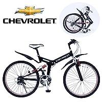 自転車 26インチ 折りたたみ ギア変速 折りたたみ自転車 ブラック CHEVROLET WサスFD-MTB2618SE MG-CV2618E