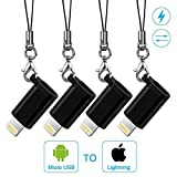 aceyoon Micro USB to Lightning Adapter with Keychain 4 Pack Mini Apple 8 Pin Lightning to Android Powerline Connector for iPhone X/8/7/6s Plus/6s/iPad Pro/iPad Air [並行輸入品]
