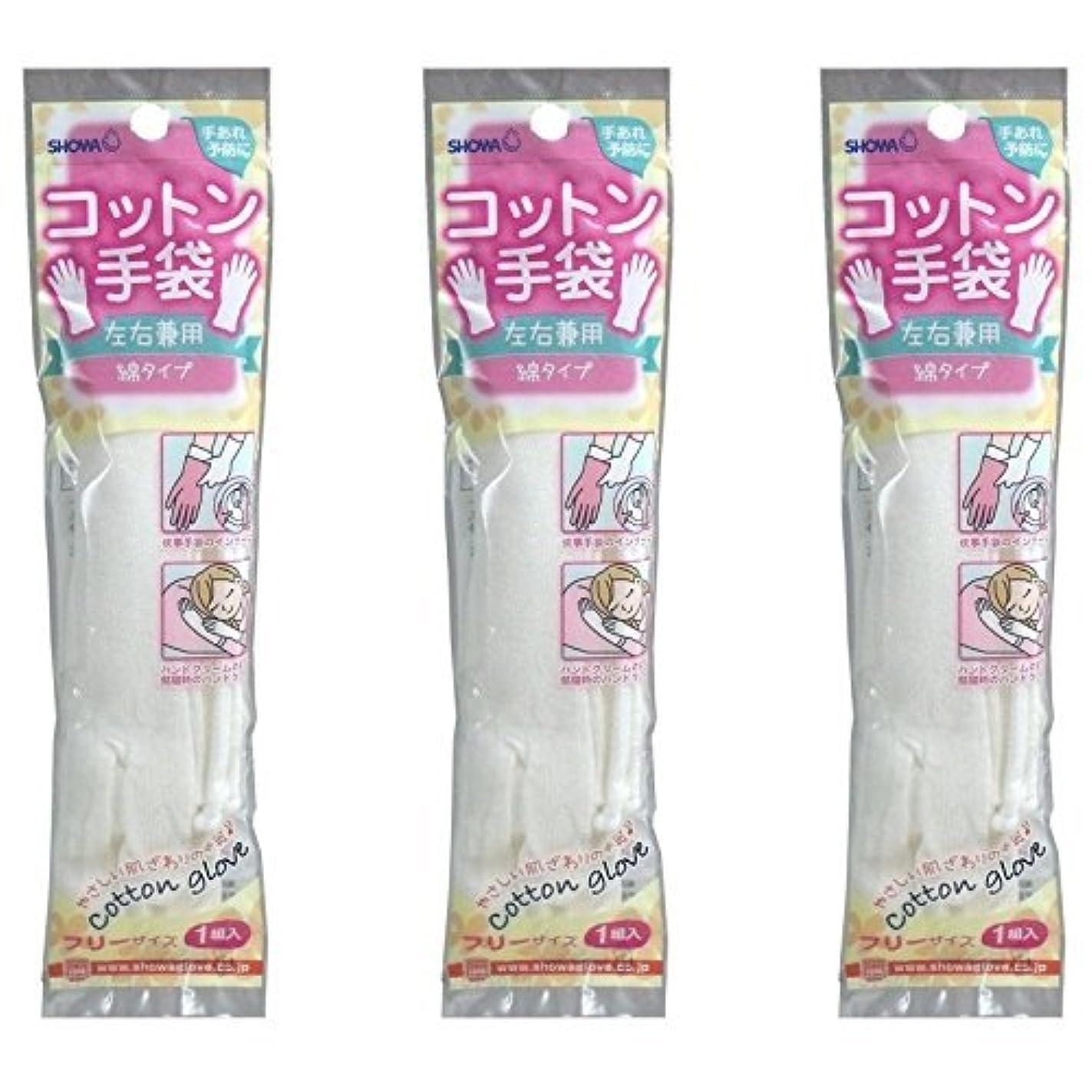 【まとめ買い】ショーワ コットン手袋 綿タイプ ホワイト フリーサイズ 1組入【×3個】