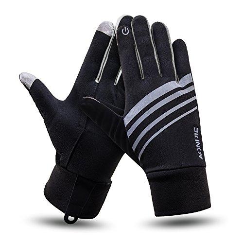 (eones)ランニンググローブ メンズ/レディース 手袋 スマホ対応 反射素材 アウトドア 自転車 通勤 通学 (グレー, L/XL) -
