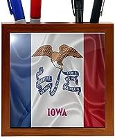 Rikki Knight RK-PH2688 Iowa State Flag Design 5-Inch Wooden Tile Pen Holder (RK-PH2688) [並行輸入品]