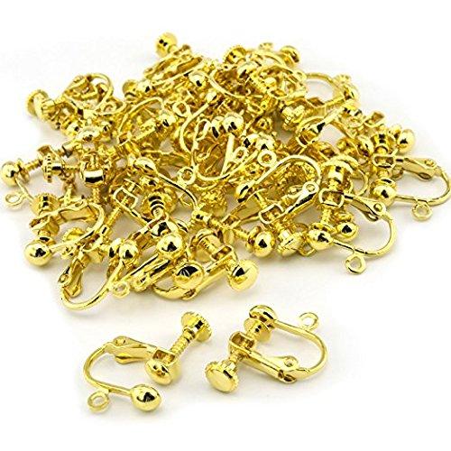 【CRSHIP】クラシップ イヤリングパーツ DIY 丸皿タイプ40個セット 基礎金具 材料 素材 初心者 (ゴールド40個)