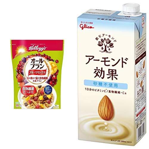 【セット買い】ケロッグ オールブラン フルーツミックス 徳用袋 440g×6袋 + グリコ アーモンド効果 砂糖不使用 1000ml×6本 常温保存可能