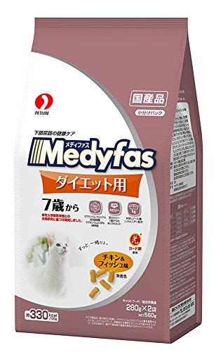ペットライン メディファス ダイエット用 7歳から チキン&  フィッシュ味 560g